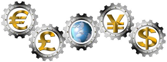 Euro Dollars Pound Yen Industrial Gears