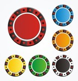 poker chip vector sets