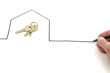 House keys in a hand drawn house