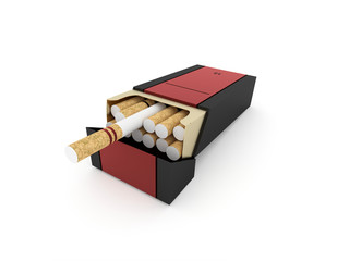Package of cigarettes isolated
