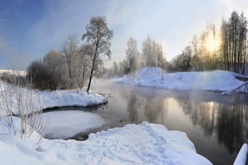 winter landscape by the river