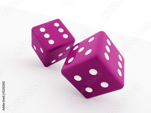 Two pink dice cubes isolated