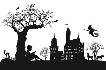 Kind ein liest Märchen
