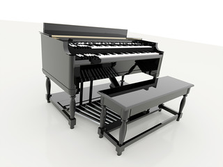 Piano black with chair