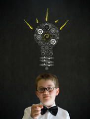Education needs you boy business man bright idea gear lightbulb