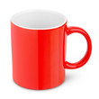Red ceramic mug isolated on white with clipping path