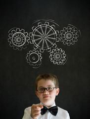 Education needs you thinking boy dressed as businessman