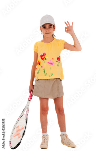 little girl with a tennis racket gesture shows okay on white bac