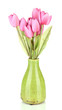Beautiful bouquet of pink tulips in vase, isolated on white