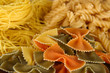 Different types of pasta close-up