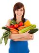 Die junge Frau mit einem Arm voller Gemüse