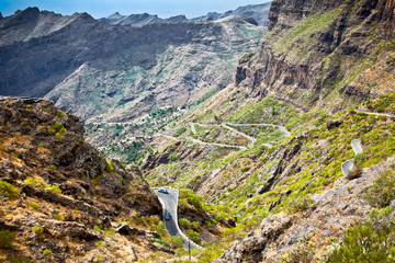 Mountain road to Masca village in Teno Mountains, Tenerife,  Spa