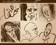 people faces caricature sketch drawings set