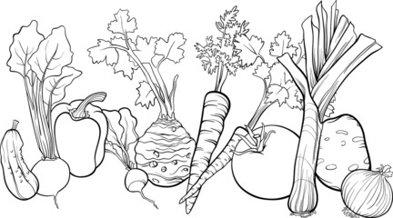 vegetables group illustration for coloring book
