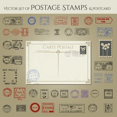 vector postage stamps collection with postcard