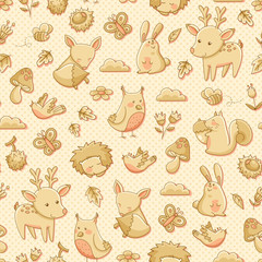 seamless pattern with doodles of forest animals