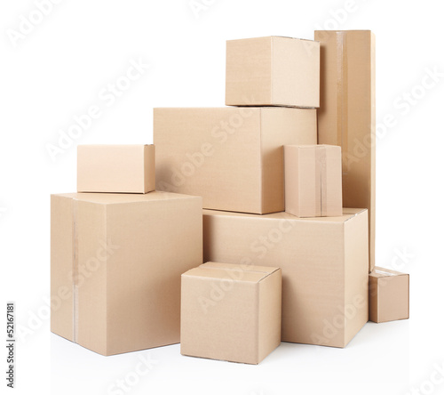 Leinwanddruck Bild Cardboard boxes on white, clipping path