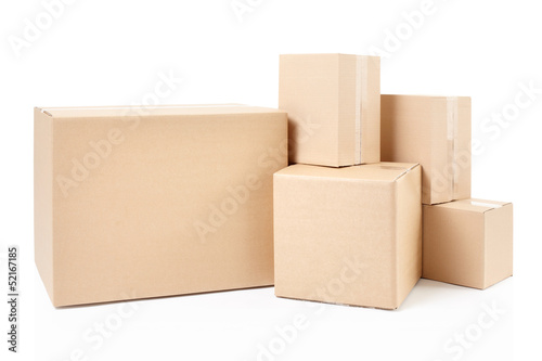 Blank cardboard boxes on white, clipping path - 52167185