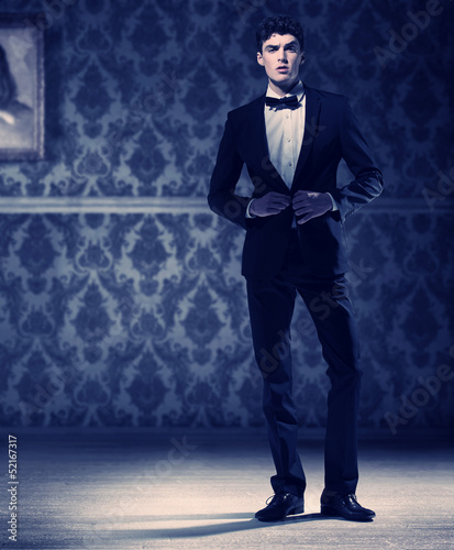 Athlete young man wearing perfect tuxedo