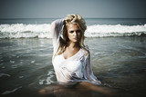 beautiful blond woman in sea
