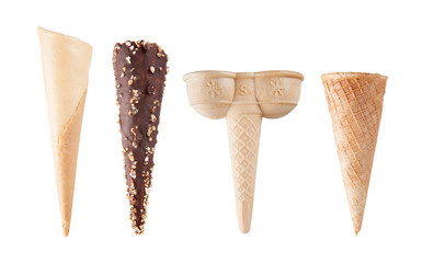 Four different empty ice-cream cones isolated on white