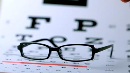Black glasses falling on eye test