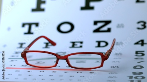 Red glasses falling on eye test