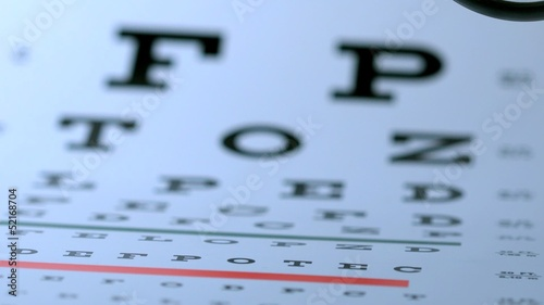 Magnifying glass falling onto eye test