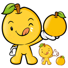 Pear Mascot the Right hand is holding a big Fruit. Fruit Charact