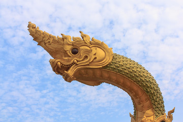 head of naga with blue sky.