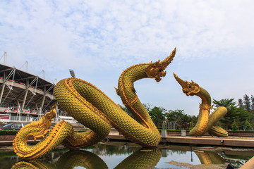 two naga with blue sky.