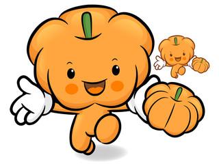 Pumpkin character on Running. Vegetable Character Design Series.
