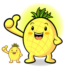 Pineapple Mascot the Left hand best gesture. Fruit Character Des