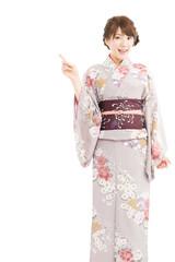 Beautiful japanese kimono woman isolated on white background