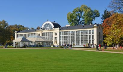 Old lazenki royal palace in golden - Warsaw Poland