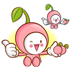 Cherry Mascot the Left hand best gesture. Fruit Character Design