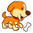 Happy puppy holding a bone. Animal Character Design Series.