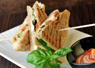 Healthy veggie panini sandwiches