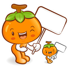 The Persimmon mascot holding a big board. Fruit Character Design