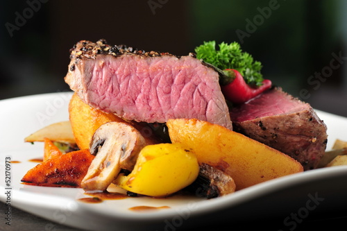 Juicy steak with baked potatoes and mushrooms