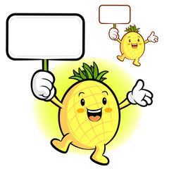 The Pineapple mascot holding a board. Fruit Character Design Ser