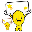 The Oriental melon Mascot holding a big board with both hands. F