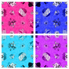 Seamless fabric textured floral pattern