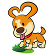 The Puppy Mascot dug a hole in the ground. Animal Character Desi