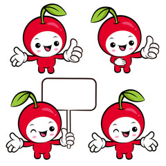 Flexibility as possible a set of Cherry Mascot. Fruit Character