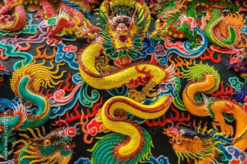 Dragons at Chinese shrine, Thailand