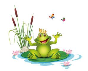Frosch mit Krone, Seerosen, Schilf und Schmetterlinge