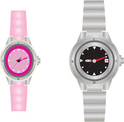 A Womans' and Mans' Dive Watches