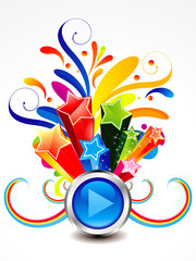 abstract colorful exploade play button