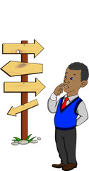 Businessman, direction, decision, arrows